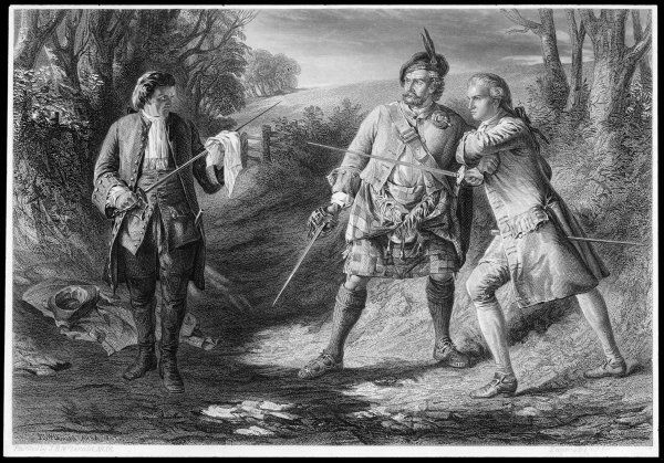 Rob Roy intervenes between Rashleigh and Francis Osbaldstone