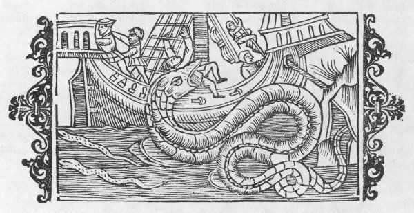 The great sea serpent seizes a member of the crew from the deck of a ship even though it is moored off the Norwegian coast