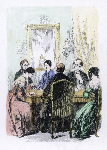 SEANCE 1850S. A spirit seance during the early years of spiritualism