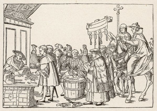 SELLING INDULGENCES. The sale of indulgences by Catholic clergy in a German market-place