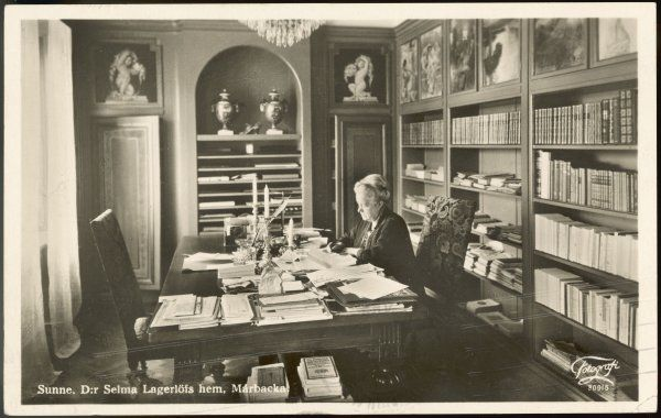 SELMA LAGERLOF Swedish writer at work in her study