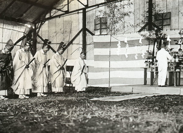 Shinto ceremony at opening of the Imperial Japanese Navy Air Station at Kasumi-ga-ura, July 1921
