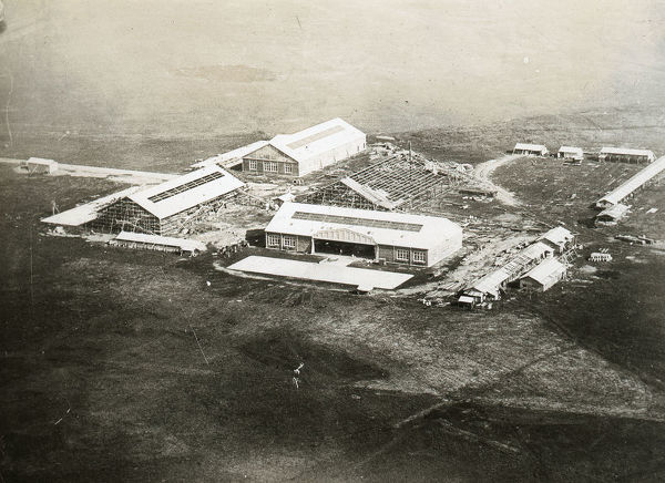 New Central Hangars under erection - Air view