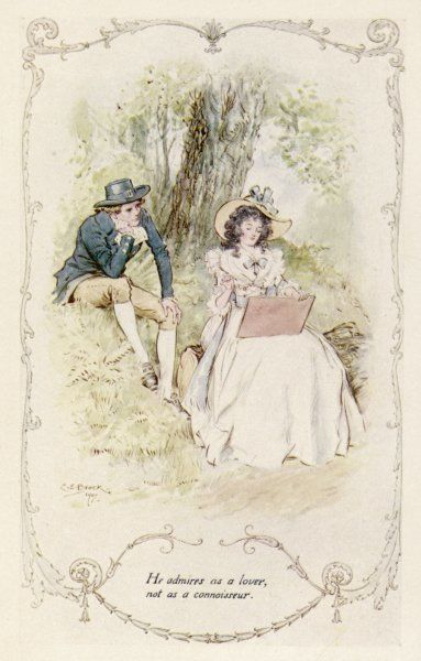 "Elinor and Robert sit under a tree. Elinor draws and Robert ""admires as a lover, not as a connoisseur&quot"