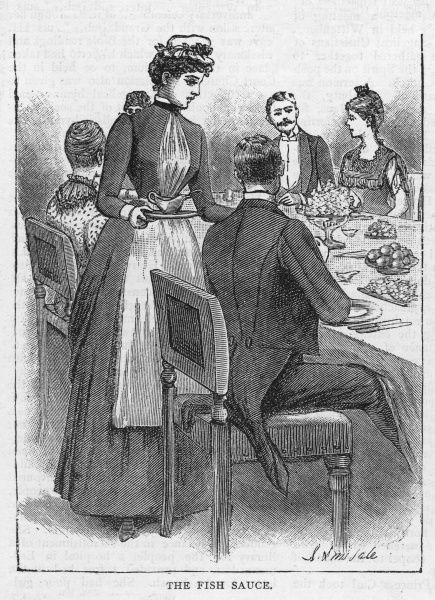 SERVING SAUCE. Waiting at table, the maidservant helps a guest to sauce for his fish