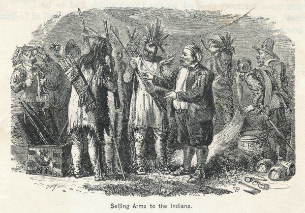 SETTLERS SELL ARMS. American settlers selling arms to the Native Americans