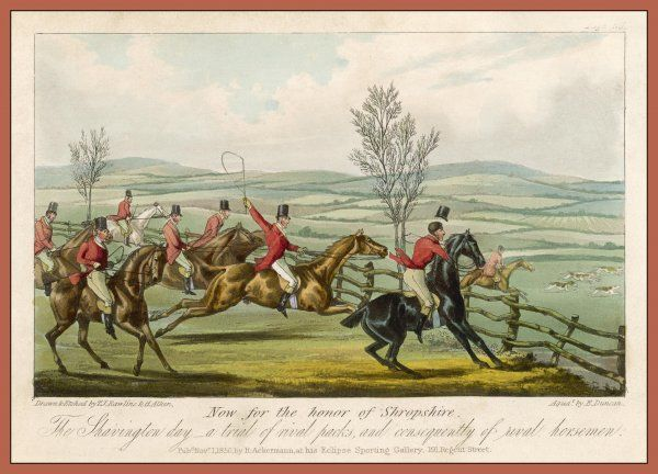 SHAVINGTON DAY A trial between rival packs and horsemen. Participating is the eccentric Shropshire Squire of Halston John Mytton (1796-1834)
