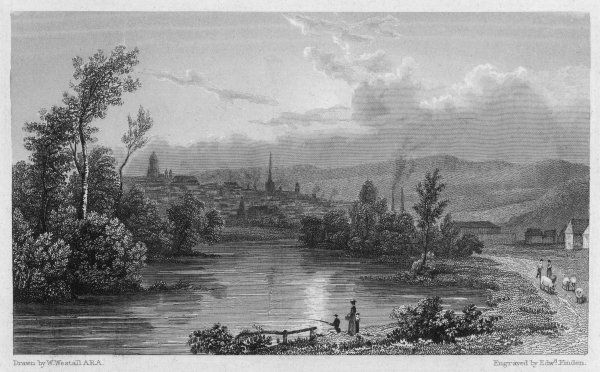 Sheffield 1828. Sheffield, Yorkshire: general view