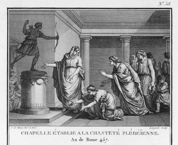 A shrine of Plebeian Chastity is set up by Virginia, who had been refused access to the shrine of Patrician Chastity because she had married Volumnius, a plebeian. She set up the shrine in her own house