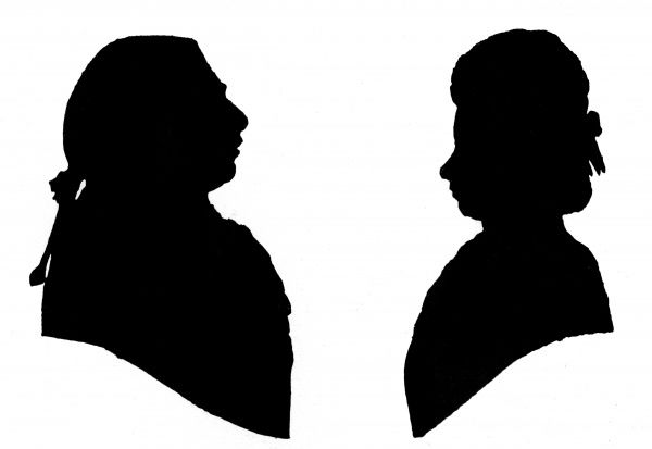 Silhouette portraits of King George III and Queen Charlotte