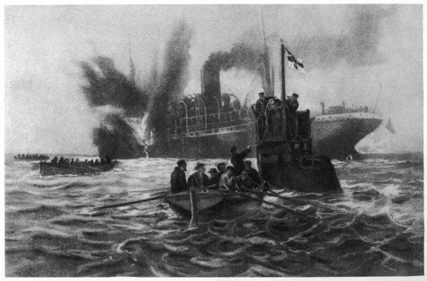 German representation of sinking of British merchant steamer 'Monkey'