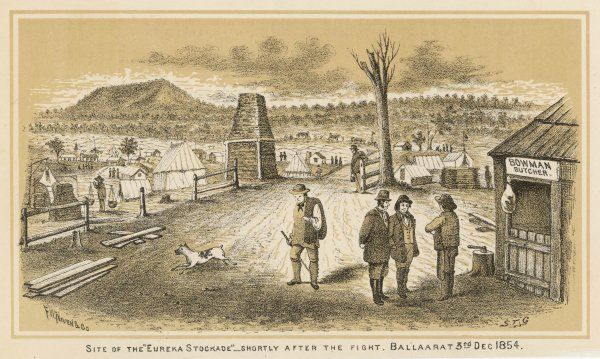 BALLARAT Site of the 'Eureka Stockade', shortly after the fight