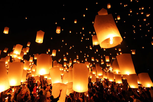 Sky Lanterns at Yi Peng, Loy Krathong Ceremony, Chiang Mai