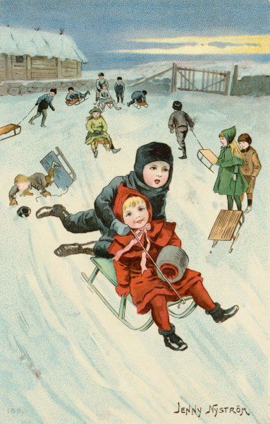 Sliding in a Street. Swedish children tobogganing