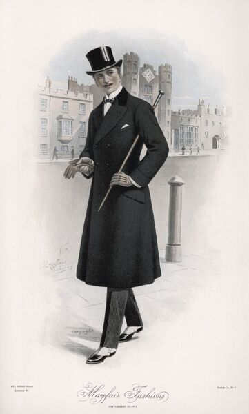Shifty-looking gentleman wears a double-breasted waisted overcoat with velvet collar & pocket flaps, wing collar & bow tie, spats, rakish top hat & a silver topped cane