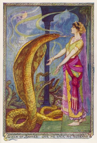 The princess begs the Queen of Snakes to give her back her husband. (Feroshepore story)
