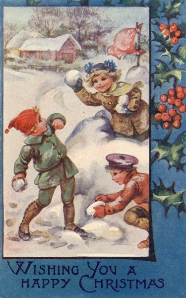 Snowball Fight. A girl on a huge snowball defends it against two boys