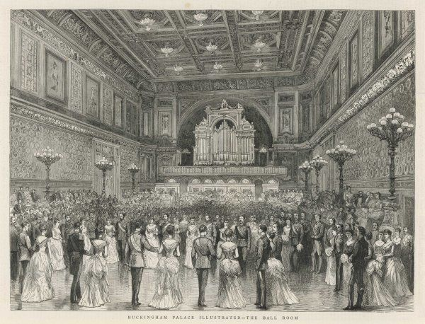 A grand social event taking place in the Ball Room of Buckingham Palace, London