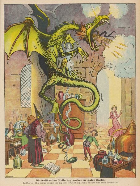 The Sorcerer's Apprentice accidentally lets the dragon out of the bottle where the Sorcerer has managed to incarcerate it