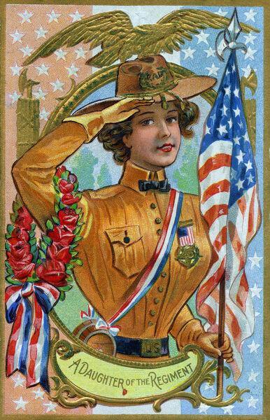 A Daughter of the Regiment - G. A. R. - Memorial or Decoration Day - ornate vintage postcard. The Grand Army of the Republic was a fraternal organization composed of veterans of the Union Army (United States Army), Union Navy (U.S. Navy), Marines and the U