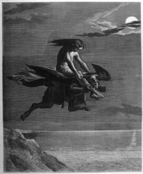 A Spanish witch flies to the Sabbat on the back of a horned, cloven-footed demon