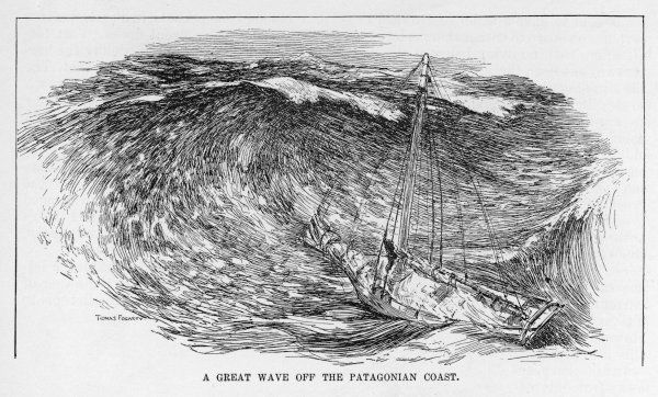 Joshua Slocum encounters a huge wave off Patagonia in the course of his solo circumnavigation