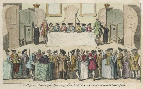 STATE LOTTERY 1751. ENGLAND Drawing of the State Lottery at the Guildhall, London