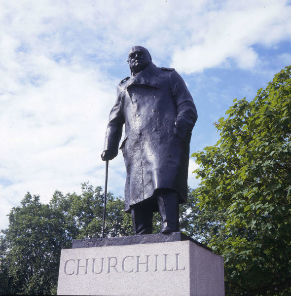 Statue of Winston Churchill created by Ivor Roberts-Jones, Parliament Square, Westminster, London. Date: 1980s