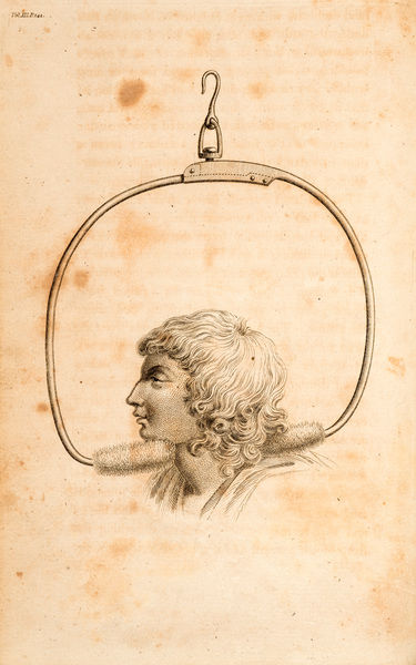 Steel bow' - additional part for 'spinal machine'. Engraving from Erasmus Darwin, Zoonomia; or, The laws of organic life. Vol III Date: 1801