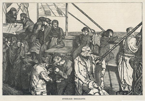 STEERAGE PASSENGERS. Steerage class passengers on an emigrant ship bound for America
