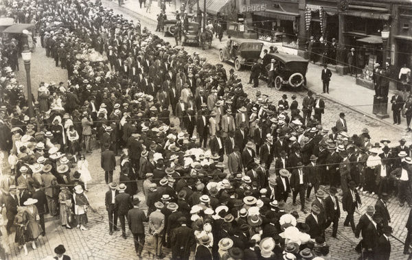 Street scene with crowds in New Jersey, USA