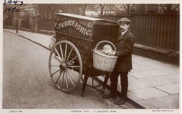 STREET TRADE/BREAD. A London baker's man delivering bread to his customers' doors