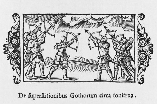 People of Gothland (Sweden) attempt to dispel hailstorms by shooting at the clouds with bow and arrow