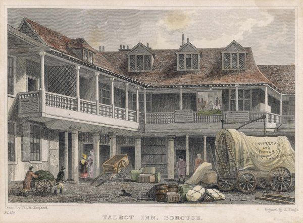 The Tabard Inn, Southwark, London, demolished in 1876. Also known as The Talbot Inn
