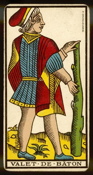 Tarot Card - Valet de Baton (Page of Clubs)