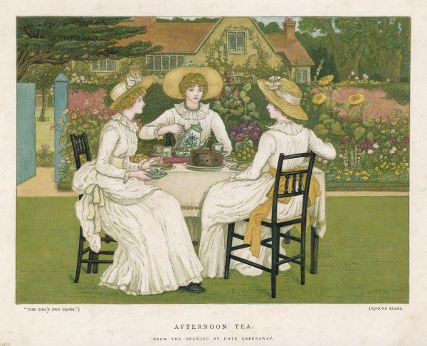 TEA ON THE LAWN. Tea and plum-cake on the lawn for three nicely dressed Victorian ladies
