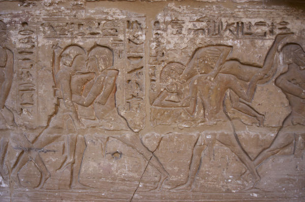 Temple of Ramses III. Relief depicting wrestling. Egypt