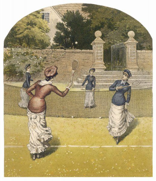 A game of women's doubles in a country garden