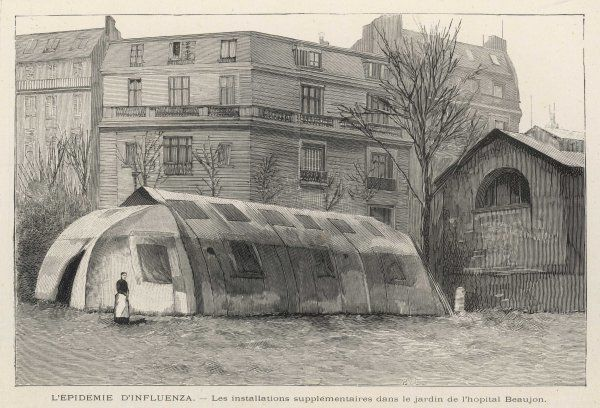 An exterior view of a tent- hospital. This one is in the gardens of the Beaujon Hospital, although many more were used to cope with all the 'flu patients
