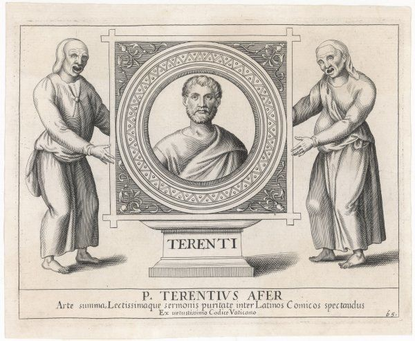 PUBLIUS TERENTIUS AFER (known as 'TERENCE') Roman writer, depicted with two masked actors