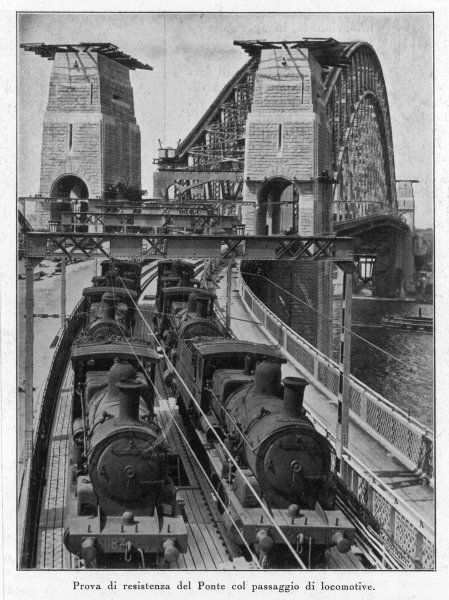 Testing Sydney Harbour Bridge by driving four locomotives on each of the two railway tracks