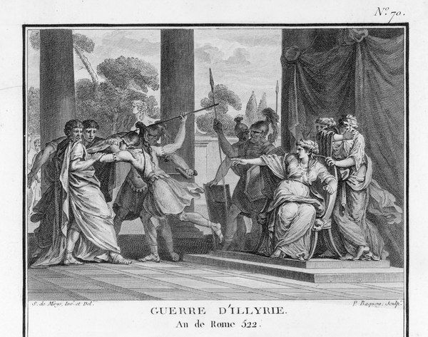Teuta, Queen of Illyria (the present-day Balkan Peninsula on the Adriatic), orders some visiting Roman ambassadors to be killed. In the event, one ambassador was killed and another was held captive, which gave rise to the Illyrian Wars
