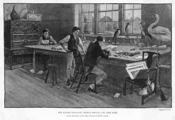 THOMAS BEWICK The eminent engraver and his assistants making woodcuts of stuffed birds