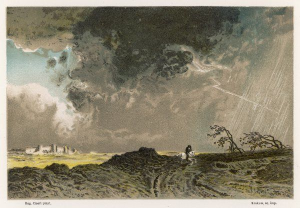 THUNDERSTORM C1870. A thunderstorm, with forked lightning, over the French countryside
