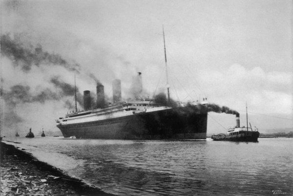 Titanic at Belfast. Thes S Titanic leaving Bairds Works, Belfast