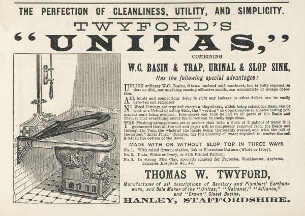 TWYFORD'S 'UNITAS' combining W.C.basin, urinal and slop sink, avoiding the 'wetting' so objectionable in Closets having permanent seats