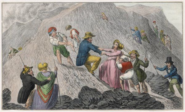 TOURISTS ON VESUVIUS - they are pushed up the side of the mountain