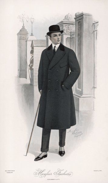 A bowler hatted businessman in a double- breasted coat with velvet collar described as a 'Town Ulster' - but unlike the Ulster has no cape. His narrow trousers have turn-ups