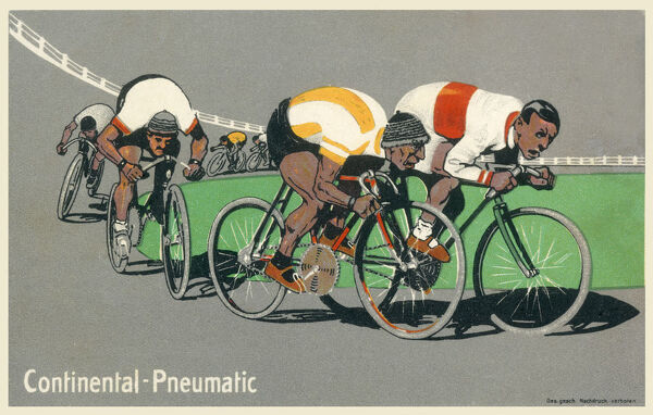 Continental Pneumatic Tyre Company (of Hanover, Germany) advertising postcard showing a track cycle race in full swing. Date: 1916