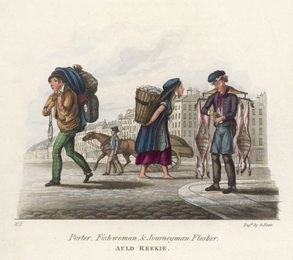 A 'Journeyman Flesher' sells whole sheep carcases in the streets of Edinburgh, with a barefoot fishwoman, a street porter and a carrier walking his horse (as law required)